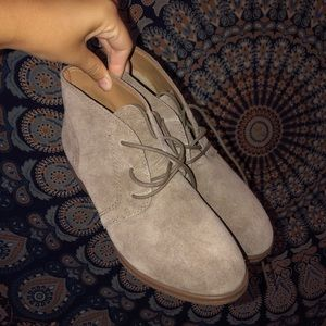 Taupe leather booties